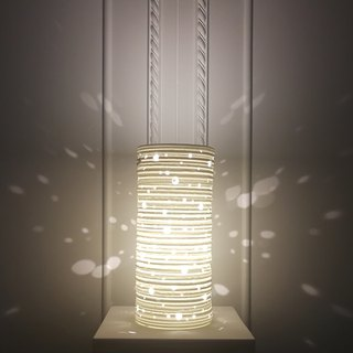 White Long Cylinder Translucent Ceramic Table Lamp - Healing System