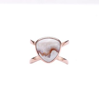 S925 Silver Plated Rose Gold With Natural Crazy Lace Agate Open End Ring 01