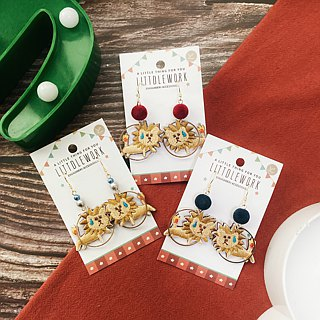 Littdlework embroidered earrings ear clip ear hook | lion jumping ring