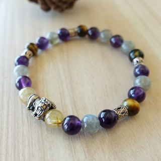 Winner takes all. Titanium crystal amethyst bracelet yellow Tiger Eye labradorite