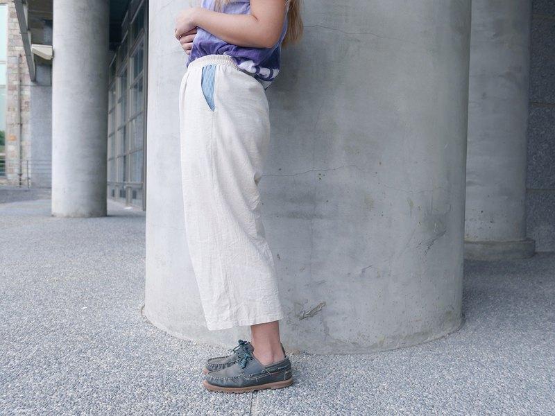 棉麻寬褲 直紋牛仔口袋布