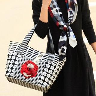 tote bag Location Hunting L Monochrome Red Corsage dots borders stripes