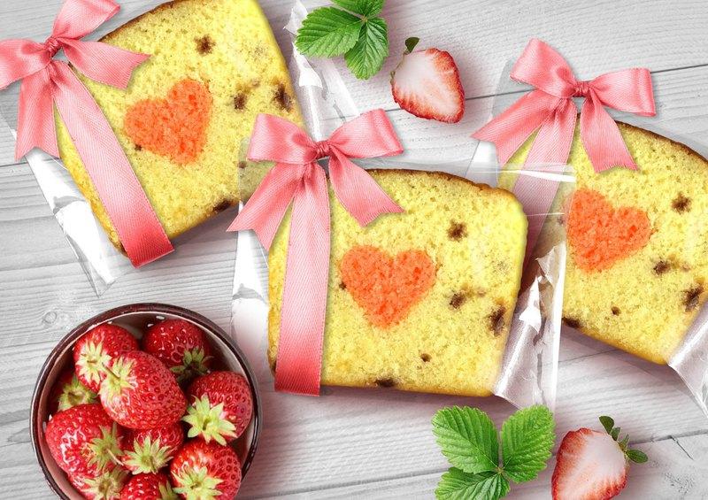 【桃德先生手工布朗尼專賣】緞帶-草莓煉乳藏心磅蛋糕