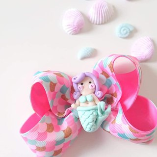 Bonbon Baby Pink Mermaid Bow Hair Clip #美人