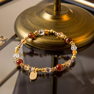 <Slow Temperature Natural Stone>C1247 Red Copper Titanium Crystal Bracelet // Treasure Island