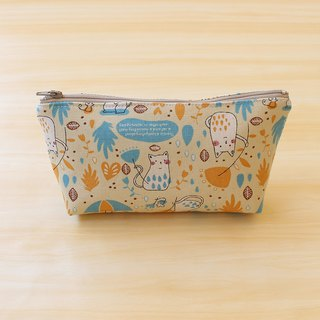 Rain cat bag - yellow (large) / storage bag pencil case cosmetic bag