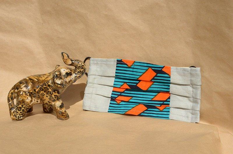 非洲花布口罩套-光速薄荷(雙拼灰底)