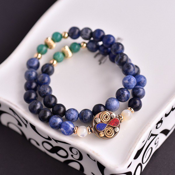 Sodalite + Tianhe stone + brass two-color accessories double circle bracelet