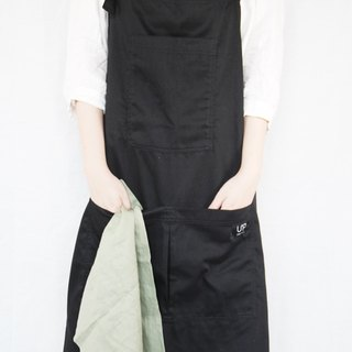 all black work apron 純棉黑色圍裙