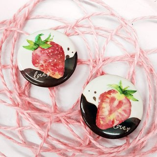 Strawberry chocolate love badge pin