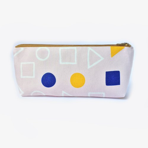 筆袋/化妝袋 Pencil Case Canvas Zip Pouch Back to School - Geometric Shapes Pink