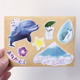 Japanese hand-painted rabbit illustrator sticker