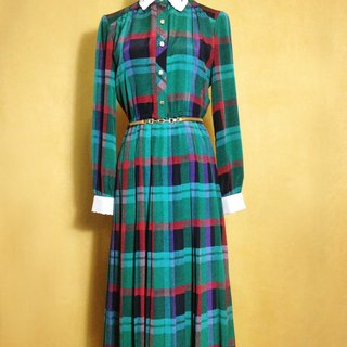 Ping-pong vintage [vintage dress / embroidery thread empty collar plaid long-sleeved vintage dress] abroad back VINTAGE