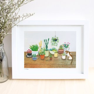 Plant and cat- illustrated print