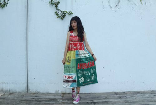 Color Patchwork Pattern Dress