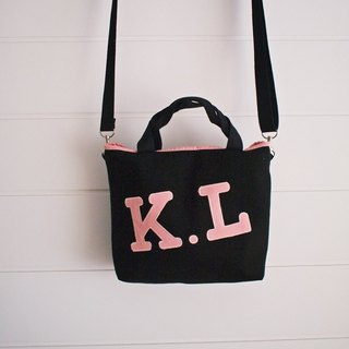 Hairmo exclusive letters out side back portable dual purpose bag / lunch bag - black (2 characters) zipper section