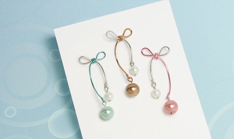 Two-color bow pearl ear/ear clip (three colors optional)