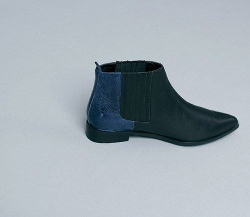 Minimalist bandage double fight leather low with real skin ankle boots black blue