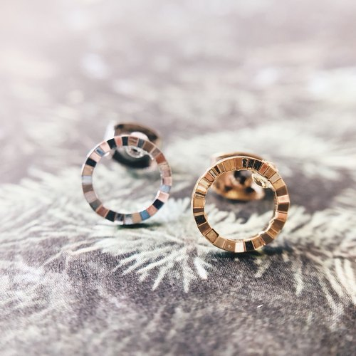 Small wave circle - silver earrings earrings (pair) = can be changed ear clip =