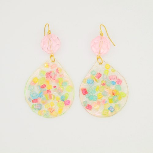 Brighting WHITE - Rainbow の debris - color painted glossy crystal particles baked earrings handmade ear clip (pink crystal sunlight paragraph)