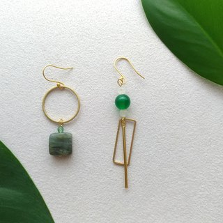 Green-Brass Malay Jaw Clip Earrings