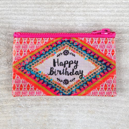 Eco-friendly wallet / gift bag-Happy Birthday peach