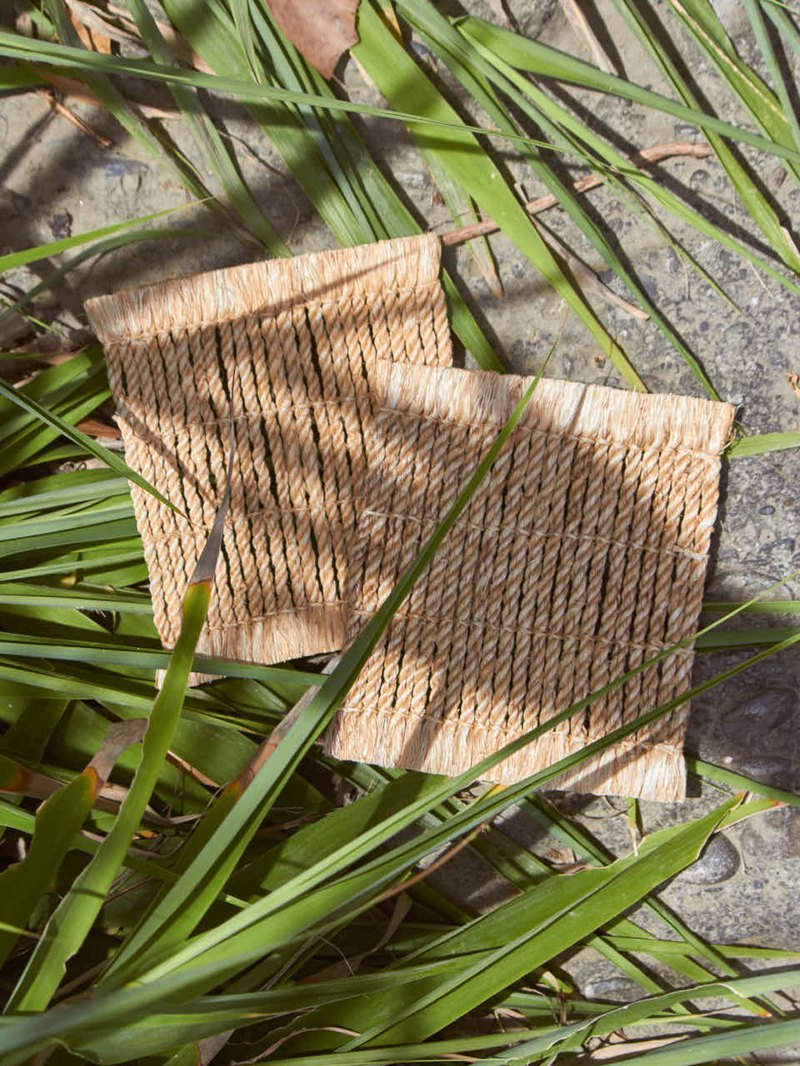 Hand-woven hemp rope coasters. Two entries