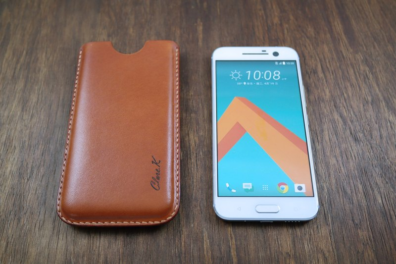 APEE leather handmade ~ plastic phone holster ~ plain tea ~ HTC 10