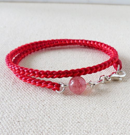 Sterling Silver **Fashion Lucky Pledge Strawberry silk silk wax line bracelet*3*[Octagonal double circle]** Peach