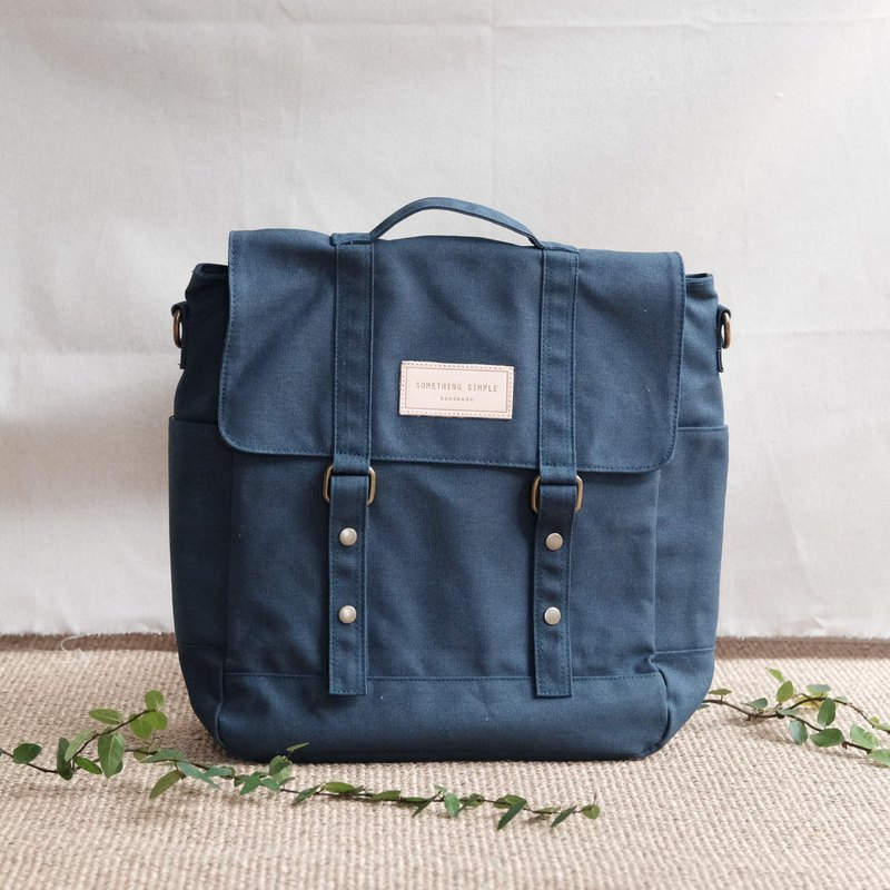 帆布郵差包 斜背包 後背包 _ KELLY : 海軍藍色