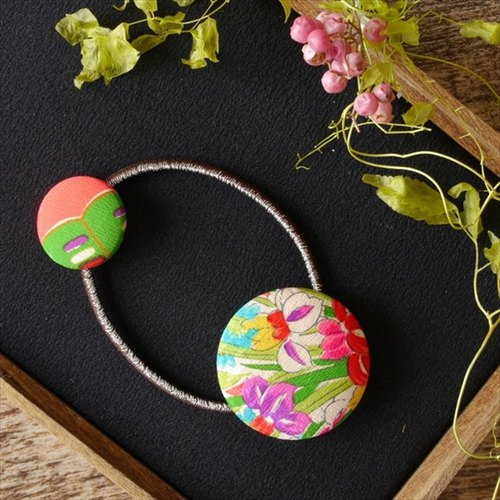 Happy hair ornament Kimono hair rubber premium silk