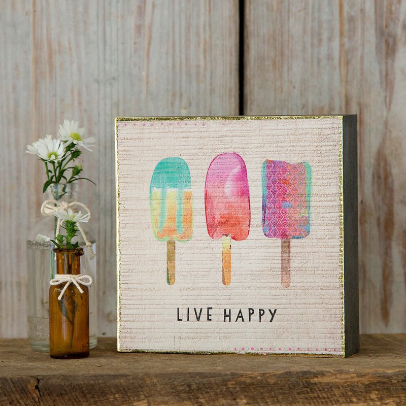 Wooden painting-S number-Live Happy|ART141