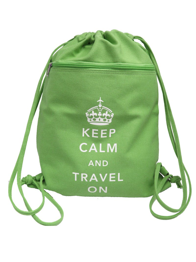 Keep Calm and Travel On British Style Canvas Backpack (Green)