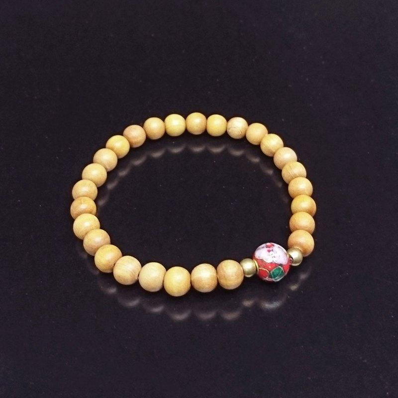 Natural Sandalwood Hand String - 6mm - M - Enamel Bead