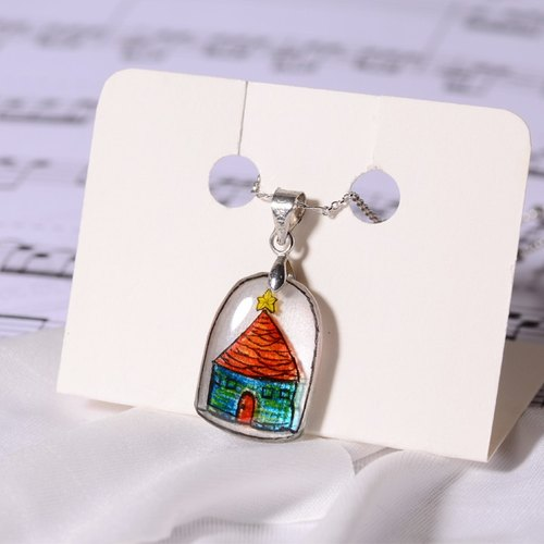 Small hand pure hand color lead drawing drawing, silver necklace, creative hand, can be customized