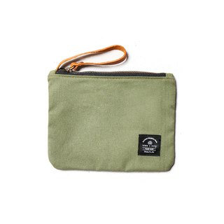 Leather canvas universal small bag cosmetic bag apple green DG43