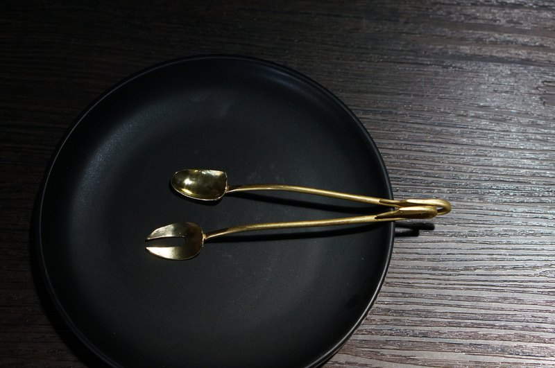 Handmade Brass Crane Dessert Spoon Fork Alternative Copperware Bronze Tableware Mini Spoon Fork