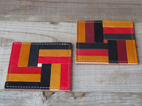Nume leather mosaic coaster (B)