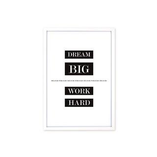 HomePlus Decorative Frame Dream Big Work Hard Classic White 63x43cm Wall Decor