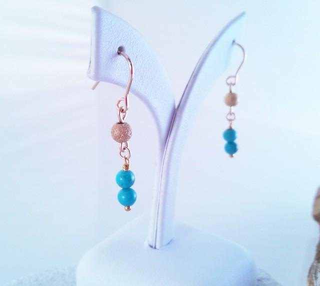 Natural turquoise K14GF earrings / earrings