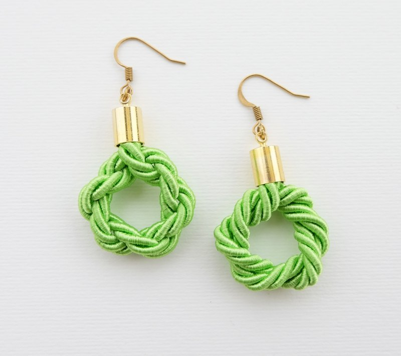 Circle-Knotted green earrings