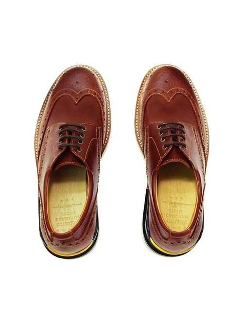 Manufacturing Chainloop SCOT carved Oxford shoes cushion insole sports outsole Taiwan brown cowhide leather uppers