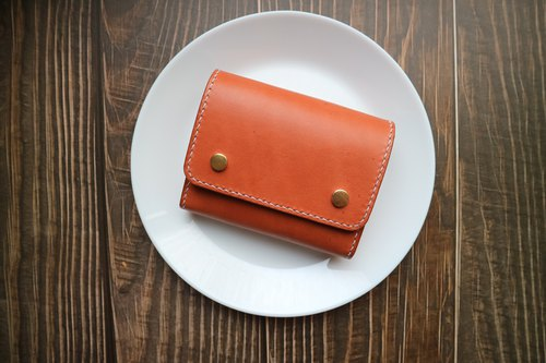 Yi Chuang between | dark brown spell color vegetable tanned leather hand-stitched multi-wallet wallet