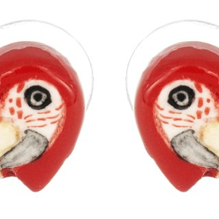 Red Parrot porcelain earrings