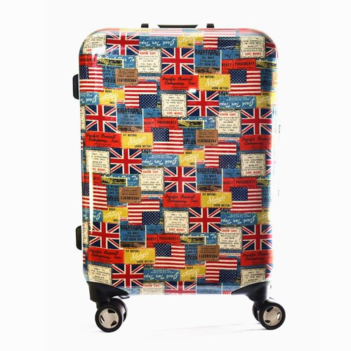 British and American flag style - hand-printed fashion aluminum frame 20 吋 suitcase / suitcase
