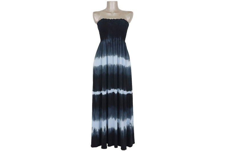 Tie Dye Strapless long dress <Blue>