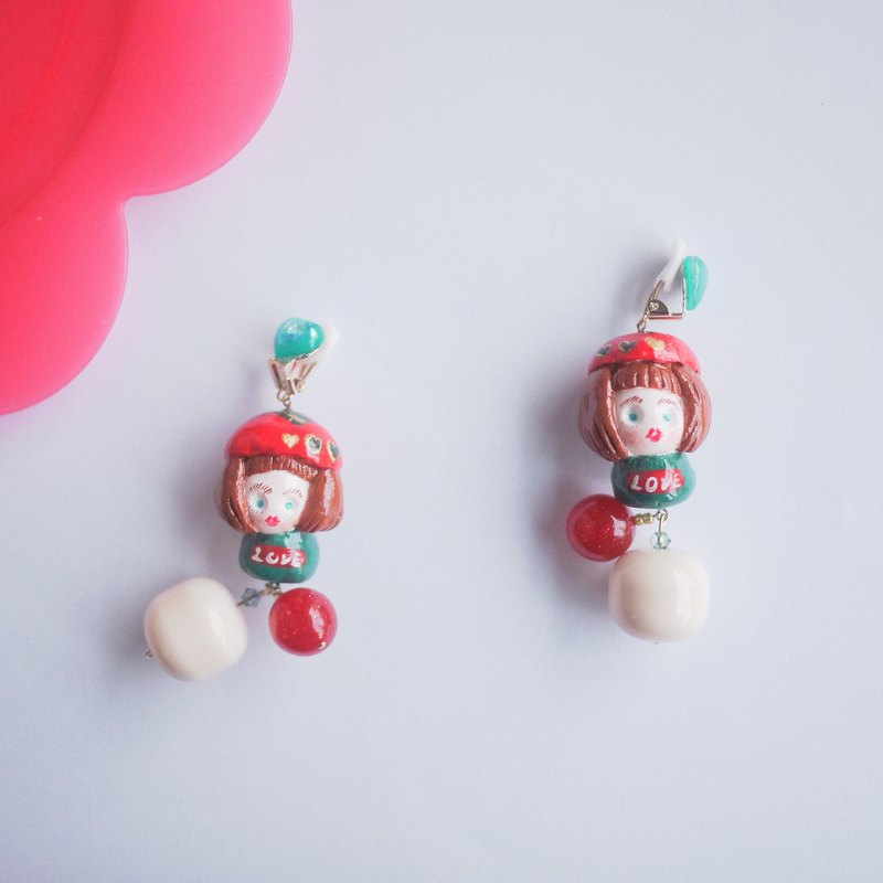 Clay earrings Christmas girl feel hit earrings ear clip