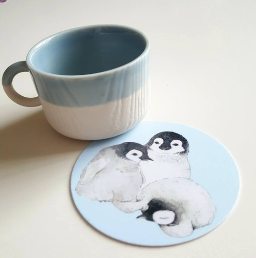 Hand-painted coaster set - Christmas - Penguin baby - wreath 3 models