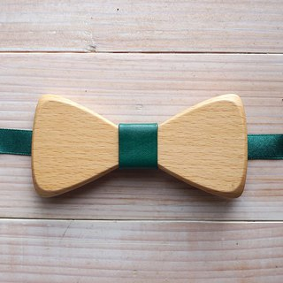Natural wood bow tie - beech wood + green leather (gift/wedding/new/formal occasions)