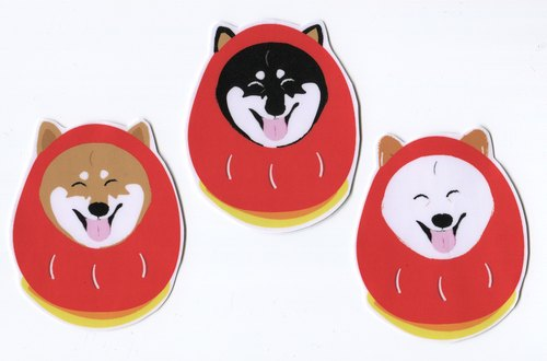 Lucky Eggs and Shiba Inu Large Sticker Set (3 Stickers) Waterproof